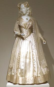 "A wedding dress made in 1844 is displayed at the ""American Brides: Inspiration and Ingenuity,"" exhibition in Denton, Texas."