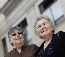 Jennie Rosenkranz, 72, left, and Nancy Robrahn, 68, are the lead plaintiffs in the South Dakota suit. The two have taken the last name Rosenbrahn.