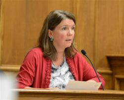 Boulder County Clerk and Recorder Hillary Hall testifies.