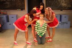 The Debbies (Katy Jacoby, Marti Maley, Kacey Coppola) harass Barbie (Kelley Dorney)