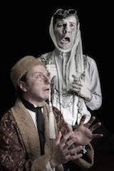 Jacob Marley (Joe Kloehn) visits Ebenezer Scrooge (Nick Ferrin)