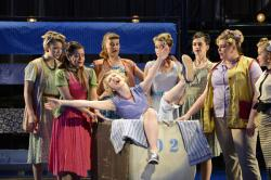 "Jillian Butler and the ensemble in the Boston Conservatory of Music's production of ""The Pajama Game"""