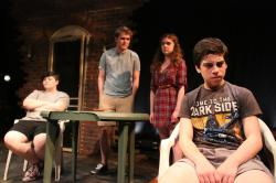 Aaron Piracini, Brian Ott, Emily White,and Alec Shiman star in 'i don't know where we're going...' conniving through Aug. 16 at Boston Playwrights' Theatre