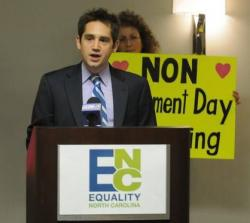 Chris Sgro, executive director of Equality North Carolina, was seated at the only openly gay legislator in the state's General Assembly