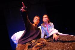 Elliot Sicard and Alexandra Tsourides in 'Unsafe,' continuing through April 30 at the Boston Center for the Arts