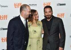 "Producer Darren Aronofsky, left, actress Natalie Portman and director Pablo Larrain attend the ""Jackie"" premiere on day 4 of the Toronto International Film Festival."