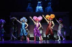 Larry Daggett, Matthew Tiberi, and Andrew Giordano in Priscilla, Queen of the Desert: The Musical,' continuing through Oct. 9 at the Citi Performing Arts Center Shubert Theater