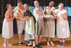 Sarah Mass, Cameron Cronin, Marge Dunn, William Schuller Elizabeth Addison, and Kiki Samko in 'Sense & Sensibility,' at Hibernian Hall in Roxbury