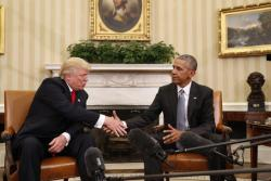 President Barack Obama shakes hands with President-elect Donald Trump
