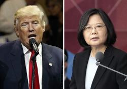 This combination of two photos shows U.S. President-elect Donald Trump and Taiwan's President Tsai Ing-wen.