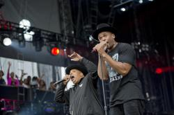 "In this Sept. 2, 2012 file photo, Joseph ""Run"" Simmons, left, and Darryl ""DMC"" McDaniels of Run-DMC perform at the ""Made In America"" music festival in Philadelphia"