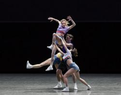 "Gretchen Smith, top, dances in Justin Peck's ""The Times Are Racing"" in New York."