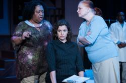 Pam Drummer-Williams as Kay, Kate Dunlop Tomatis as Lisa, Beth Chastain as Joy, and Reg Clay as the Nurse