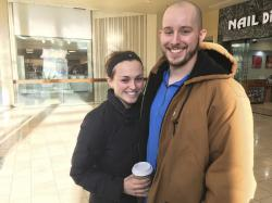 Courtney Taylor and her boyfriend, Zach Tobias, pose for a portrait at a mall in Whitehall, Pennsylvania, on Feb. 9, 2017.