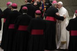 Bishops line up to greet Pope Francis during his weekly general audience in Paul VI Hall, at the Vatican, Wednesday, Feb. 15, 2017