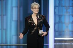 Meryl Streep accepting the Cecil B. DeMille Award at the 74th Annual Golden Globe Awards.