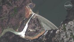 In this Feb. 14, 2017, satellite image released by DigitalGlobe and taken by DigitalGlobe's WorldView-4 satellite shows an overview of the Oroville Dam in Oroville, Calif.