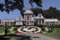 Workers standby at the train station at Neverland Ranch in Los Olivos, Calif.