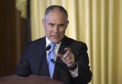 In this Feb. 21, 2017 file photo, Environmental Protection Agency (EPA) Administrator Scott Pruitt speaks to employees of the EPA in Washington