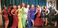 Big Mamma's Burlesque cast: (left to right) Kitten Wink, Rebel, Big Mamma Dixie Crystal, Ophelia PopTart, Phoebe Nyx, Anita Tool, Veronica Broadchest, DeeDee Perks, Sheba, Meredith Sparkles, Johnny Anonymous and Kitt Nuveau.
