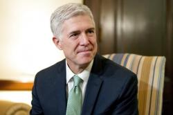 In this Feb. 14, 2017 file photo, Supreme Court Justice nominee Neil Gorsuch is seen on Capitol Hill in Washington