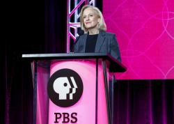 President and CEO Paula Kerger speaks at the PBS's Executive Session at the 2017 Television Critics Association press tour.