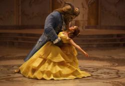 "Dan Stevens as The Beast, left, and Emma Watson as Belle in a live-action adaptation of the animated classic ""Beauty and the Beast."""