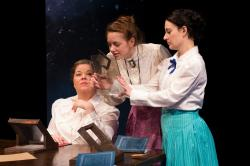 Juliet Bowler, Erin Eva Butcher, and Cassandra Meyer in 'Silent Sky,' continuing through March 25 at the Mosesian Center for the Arts in Watertown