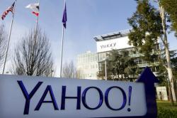 This Jan. 14, 2015, file photo shows a sign outside Yahoo's headquarters in Sunnyvale, Calif.