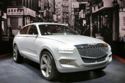 The hydrogen fuel cell Genesis GV80 concept SUV is shown during a media preview at the New York International Auto Show, at the Jacob Javits Center in New York, Thursday, April 13, 2017.