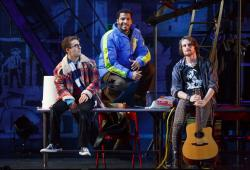 Danny Harris Kornfeld, Christian Thompson, and Kaleb Wells star in 'RENT,' conitnuing through April 23 at the Shubert Theatre Bosoch Center