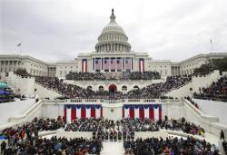 In this Jan. 20, 2017, file photo, President Donald Trump delivers his inaugural address after being sworn in as the 45th president of the United States during the 58th Presidential Inauguration at the U.S. Capitol in Washington