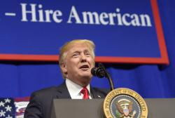 President Donald Trump speaks at tool manufacturer Snap-on Inc. in Kenosha, Wis., Tuesday, April 18, 2017