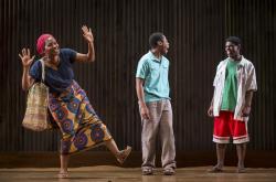 Lily Mojekwu (Luopu Workolo), Daniel Kyri (Shedrick Yarkpai) and Breon Arzell (Zaza Workolo)