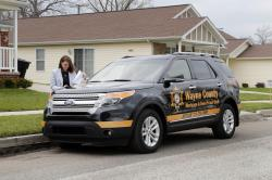 Alexandria Casperson, Department Executive, Wayne County Mortgage and Deed Fraud Task Force visits houses in Detroit, Wednesday, April 19, 2017.