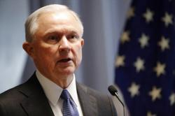 In this April 28, 2017 file photo, Attorney General Jeff Sessions speaks in Central Islip, N.Y.