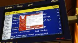 A display panel with an error can be seen at the main railway station in Chemnitz, Germany