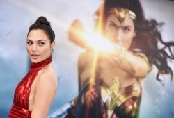 """Gal Gadot arrives at the world premiere of """"Wonder Woman"""" in Los Angeles."""