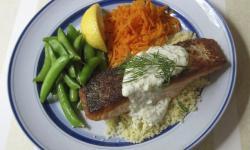 Salmon with Pepperoncini Lemon Sauce.