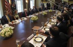 President Donald Trump speaks before having lunch with Republican Senators and White House staffers in the Cabinet Room of the White House in Washington, Tuesday, June 13, 2017.
