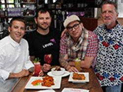Flore co-owner Aaron Silverman, left, showed off some of the cannabis-infused drinks and bites with Chris Emerson, co-founder of Level Blends, mixologist Christopher Longoria, and Flore co-owner Terrance Alan