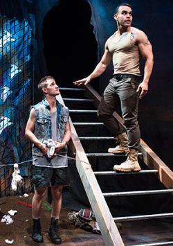 "JD Scalzo, left, and Ed Berkeley portray contemporary characters inspired by Greek mythology in ""warplay,"" having its world premiere at New Conservatory Theatre Center."