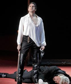 "Ildebrando D'Arcangelo in the title role, and Andrea Silvestrelli as the Commendatore, in San Francisco Opera's production of Mozart's ""Don Giovanni."""