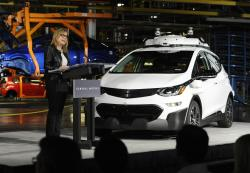 General Motors Chairman and CEO Mary Barra updates the media on the company's autonomous vehicle development program, Tuesday, June 13, 2017, at GM's Orion Assembly in Lake Orion, Mich.