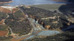 This Feb. 27, 2017, file image provided by KCRA shows Oroville Dam's crippled spillway in Oroville, Calif.