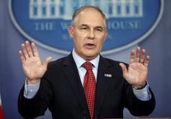 In this June 2, 2017, file photo, EPA Administrator Scott Pruitt speaks to the media during the daily briefing in the Brady Press Briefing Room of the White House in Washington