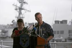 Vice Adm. Joseph Aucoin, right, Commander of the U.S. 7th Fleet, speaks during a press conference.