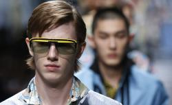 A model wears a creation part of the Prada men's Spring-Summer 2018 collection.