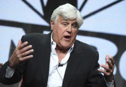 "In this Aug. 13, 2015, file photo, Jay Leno participates in the ""Jay Leno's Garage"" panel at the The NBCUniversal Summer TCA Tour at the Beverly Hilton Hotel in Beverly Hills, Calif."