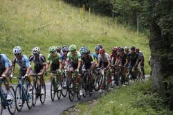 A group of breakaway riders climbs during during the ninth stage of the Tour de France cycling race.